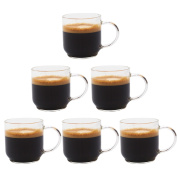 Zenco 4 oz (125ml) Glass Coffee Cups (Set of 6) - Perfect size for Nespresso Lungo, single/double espressos, cappuccinos, lattes and more