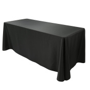 E-Tex 230cm x 340cm Polyester Oblong Tablecloth Fit for Rectangular Table Black