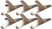 6 Large Magnetic Clip Stainless Steel Bag Clips for Air Tight Seal Grip on Coffee Bags, Kitchen Food Storage
