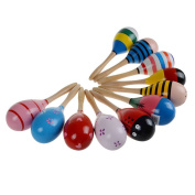 ZJKC Random Colour Sand Hammer Toys Cute Baby Kids Sound Music Gift Toddler Rattle Musical Wooden Colourful Toys Baby Wooden Sand Hammer Maracas Rattle Bell Instruments Toys