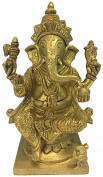Vrinda Brass Handicraft Statue Ganesha 18cm God Figure Sculpture Decorative Spiritual Religious