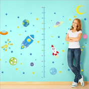 Spaceship Rocket Growth Height Chart Wall Stickers| Removable PVC Decor | Planets with Stars Wall Decals for Kids Room and Nursery Room By Little Sues