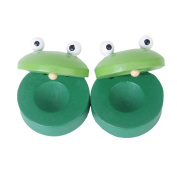 TMERY 2pcs Round Wooden Frog Castanet Kids Musical Instrument - Green