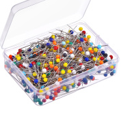 Shappy 500 Pieces 4 mm Glass Head Pins Boxed for Jewellery Components Flower Decoration, Multicolor