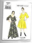 Vogue V9265 6-14 Sewing Pattern Ladies Scoop Neck Gathered Sleeve Dress & Gown Wide Skirt