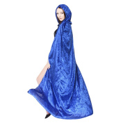 Unisex Cool Halloween Masquerade Christmas Witch Wizard Cloak Cape Costume with Hood Party Role Play Dress-up Supplies Blue
