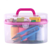 Large Sewing Box, Portable Mini Sewing Kit Tool Threader Needle Tape Measure Scissor Thimble Sewing Emergency Supplies for Home Travel