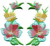 Cyan blue pink summer flowers pair embroidered appliques iron-on patches . 6.4cm x 11cm .