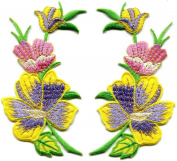 Bumblebee yellow amethyst summer flowers pair appliques iron-on patches Handmade. 6.4cm x 11cm .