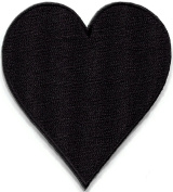 Black heart suit playing cards biker retro poker Las Vegas gaming embroidered applique iron-on patch new. 6.4cm x 7.3cm .