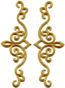 Gold trim fleur de lis fringe boho retro sew sewing embellishment embroidered applique iron-on patch new. 6.4cm x 18cm .