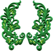 Yellow green trim fringe leaves flowers retro boho chic embroidered appliques iron-on patches pair new . 6.4cm x 12cm .