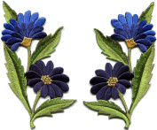Blue daisies pair flowers floral bouquet boho embroidered appliques iron-on patches new. 6.4cm x 12cm .