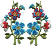 1 Pair Flower Wildflower Floral Bouquet DIY Applique Embroidered Sew Iron on Patch . 6.4cm x 11cm .