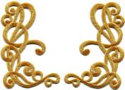 Gold trim fleur de lis fringe boho retro sew sewing embellishment embroidered applique iron-on patch new. 6.4cm x 9.9cm .
