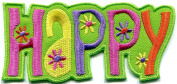 5.1cm x 11cm Happysign hippie boho retro flower power summer of love hippy embroidered applique iron-on patch new