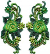 5.1cm x 10cm Emerald green roses flowers pair retro 60s design embroidered applique iron-on patches