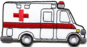 4.8cm x 9.5cm .Ambulance DIY Applique Embroidered Sew Iron on Patch