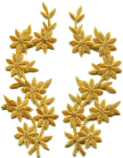 4.4cm x 11cm Gold flowers pair floral boho granny chic golden embroidered appliques iron-on patches new
