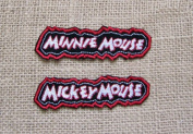 Vintage Disney Embroidered Patch Set MICKEY Mouse MINNIE Mouse Hollywood Banners Names In Lights