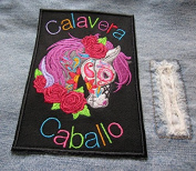 Calavera Caballo Majestic Skull Horse Iron On Sew On Embroidered Patch Vibrant Colours