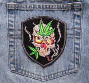 Biker Patch Smoked Skull Skeleton Weed Embroidered Iron On Sew On Patch