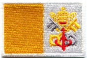 3.2cm x 4.4cm . Vatican City Flag Embroidered Patch Iron-On Catholic Pope Francis Rome Holy Sea