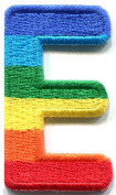 3.2cm x 4.1cm . Letter E gay lesbian LGBT rainbow english alphabet embroidered applique iron-on patch new
