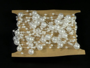 ALL in ONE 5M/16.4ft Pearls Beads String for DIY Craft Wedding Party Centrepieces Bridal Bouquet Bridal Headband Decoration
