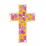Cross Pink Flower on Yellow and Pink 3 x 6 Felt Iron On Embroidery Patch