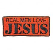 Real Men Love Jesus Orange 3 x 6 Fabric Iron On Embroidery Patch