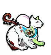 HHO Cat Kitty Kitten Pet Animal Kid Patch Embroidered DIY Patches, Cute Applique Sew Iron on Kids Craft Patch for Bags Jackets Jeans Clothes