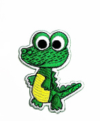 HHO Lovely Green Crocodile Crocodile cartoon Patch Embroidered DIY Patches, Cute Applique Sew Iron on Kids Craft Patch for Bags Jackets Jeans Clothes