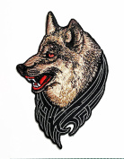 HHO Lone Wolf Fox Dog Wild Animal Choppers Lady Rider Biker Tattoo Motorcycle Patch Embroidered DIY Patches, Cute Applique Sew Iron on Kids Craft Patch for Bags Jackets Jeans Clothes