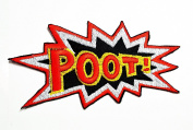 HHO Red POOT Application Patch Embroidered DIY Patches, Cute Applique Sew Iron on Kids Craft Patch for Bags Jackets Jeans Clothes