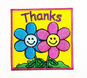 HHO Pink blue flower thanks Embroidered Patch Embroidered DIY Patches, Cute Applique Sew Iron on Kids Craft Patch for Bags Jackets Jeans Clothes