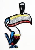 HHO Bird Hornbill cartoon Patch Embroidered DIY Patches, Cute Applique Sew Iron on Kids Craft Patch for Bags Jackets Jeans Clothes