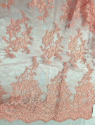 Light Coral French Corded Flowers Embroider On A Design Mesh Lace Fabric - Yard