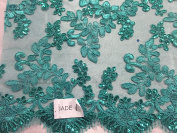 Jade Corded Flowers Embroider With Sequins On Mesh Lace Fabric- Yard