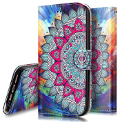 iPhone 5S Case,iPhone 5S / SE Wallet Case, PHEZEN Totem Henna Mandala Floral Design Pu Leather Wallet Case with Card Slots Stand Book Style Folio Flip Cover For iPhone 5 5S SE, Henna Mandala
