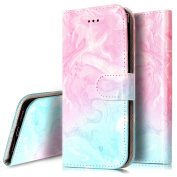 iPhone 7 Case, PHEZEN iPhone 7 Wallet Case - Retro Elegant Pink Green Marble Design PU Leather Flip Cover Stand Folio Protective Cover Case with Card Slot for iPhone 7 - Pink Green Marble