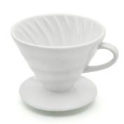 Asmwo White Ceramic Pour Over Kit Wide 4 Cups Coffee Dripper Filter Coffee Dripper Cone Make Great Coffee Gift