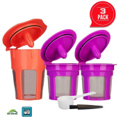 3 Pack Refillable K Carafe 2.0 and Reusable K Cup Filters Coffee Capsule Pods for Keurig 2.0, K200, K300, K400, K500 and 1.0 Brewers