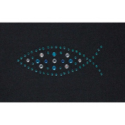 Aqua and Blue Fish Aqua and Blue 3 x 6 Rhinestone Iron On Decal Decoration