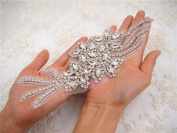 Sparkling Bridal Diamante Wedding Applique Patch Rhinestone Sash Belt Appliques Sewing Craft 1 pcs