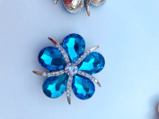 New style fashion 40 40mm alloy rhinestone rose crystal / blue flower shape crystals for clothes shoes