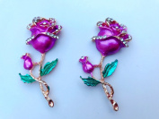 New style of fashion rhinestone alloy crystal rose flower shape 62x28mm for clothes shoes phone case 2 pcs / lot