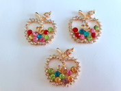 New style of fashion crystal rhinestone alloy applique crystal colourful apple shape 28x25mm for clothes shoes phone case 4 pcs / lot
