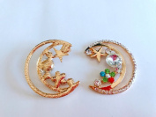 New style of alloy crystal rhinestone applique colourful crystal moon shape 37x 30mm for clothes shoes phone case 2 pcs / lot