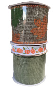 Natural Burlap with Autumn Leaves Pumpkins and Green Burlap Bundle of Three Fall Themed Ribbons